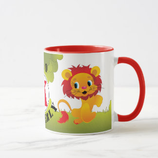 Cute LEO Lion Custom Monogram & Name Mug