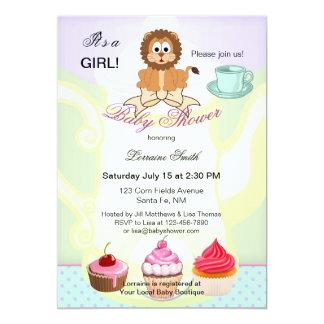 Cute Leo or Lion Tea Theme Baby Shower Invitation