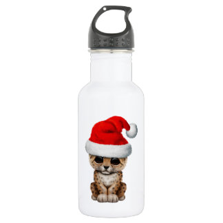 Cute Leopard Cub Wearing a Santa Hat 532 Ml Water Bottle