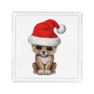 Cute Leopard Cub Wearing a Santa Hat Acrylic Tray