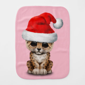 Cute Leopard Cub Wearing a Santa Hat Burp Cloth