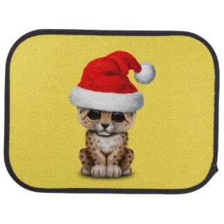 Cute Leopard Cub Wearing a Santa Hat Car Mat