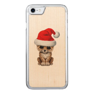 Cute Leopard Cub Wearing a Santa Hat Carved iPhone 8/7 Case