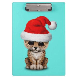 Cute Leopard Cub Wearing a Santa Hat Clipboard