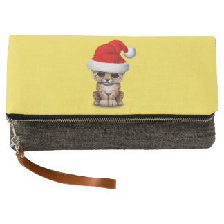 Cute Leopard Cub Wearing a Santa Hat Clutch