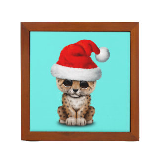 Cute Leopard Cub Wearing a Santa Hat Desk Organizer