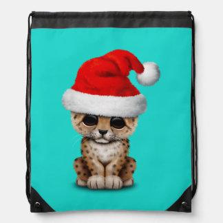 Cute Leopard Cub Wearing a Santa Hat Drawstring Bag