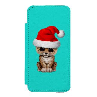 Cute Leopard Cub Wearing a Santa Hat Incipio Watson™ iPhone 5 Wallet Case