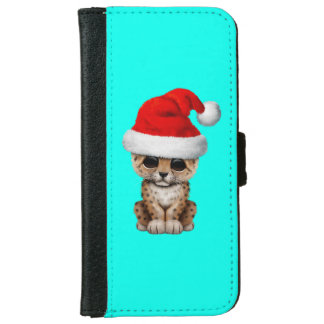 Cute Leopard Cub Wearing a Santa Hat iPhone 6 Wallet Case