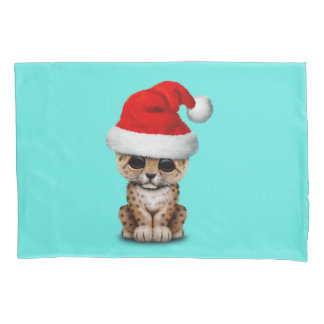 Cute Leopard Cub Wearing a Santa Hat Pillowcase