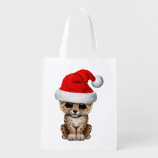 Cute Leopard Cub Wearing a Santa Hat Reusable Grocery Bag