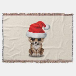 Cute Leopard Cub Wearing a Santa Hat Throw Blanket