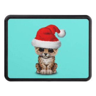 Cute Leopard Cub Wearing a Santa Hat Trailer Hitch Cover