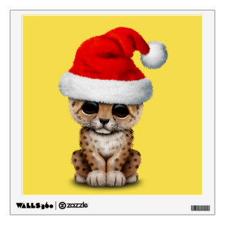 Cute Leopard Cub Wearing a Santa Hat Wall Decal
