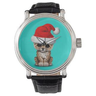 Cute Leopard Cub Wearing a Santa Hat Watch