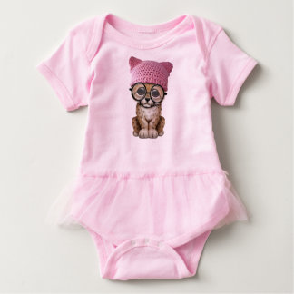 Cute Leopard Cub Wearing Pussy Hat Baby Bodysuit