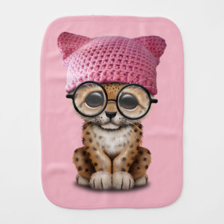 Cute Leopard Cub Wearing Pussy Hat Baby Burp Cloths