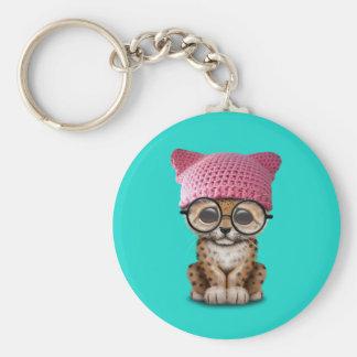 Cute Leopard Cub Wearing Pussy Hat Basic Round Button Keychain