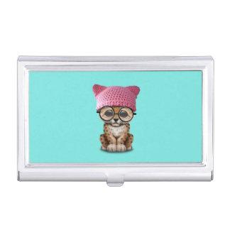 Cute Leopard Cub Wearing Pussy Hat Business Card Holder