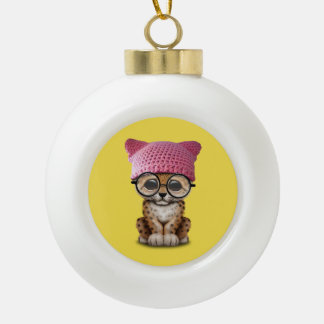 Cute Leopard Cub Wearing Pussy Hat Ceramic Ball Christmas Ornament