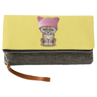 Cute Leopard Cub Wearing Pussy Hat Clutch