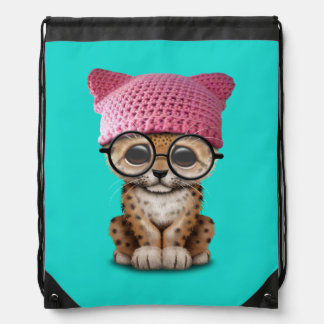 Cute Leopard Cub Wearing Pussy Hat Drawstring Bag