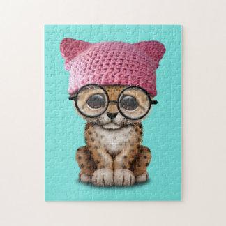 Cute Leopard Cub Wearing Pussy Hat Jigsaw Puzzle
