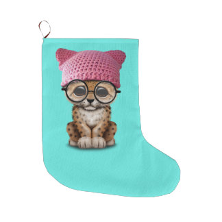 Cute Leopard Cub Wearing Pussy Hat Large Christmas Stocking