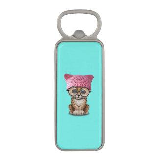 Cute Leopard Cub Wearing Pussy Hat Magnetic Bottle Opener
