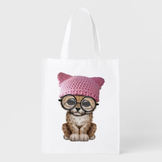 Cute Leopard Cub Wearing Pussy Hat Reusable Grocery Bag
