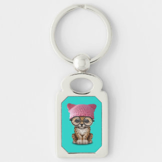 Cute Leopard Cub Wearing Pussy Hat Silver-Colored Rectangle Keychain