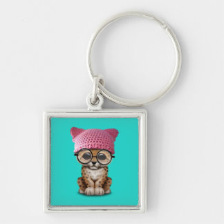 Cute Leopard Cub Wearing Pussy Hat Silver-Colored Square Keychain