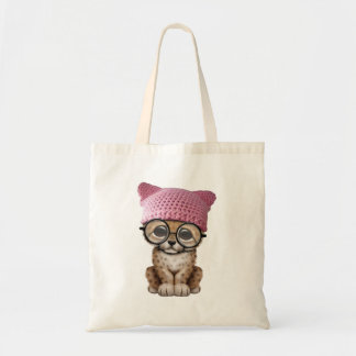 Cute Leopard Cub Wearing Pussy Hat Tote Bag