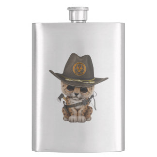 Cute Leopard Cub Zombie Hunter Hip Flask
