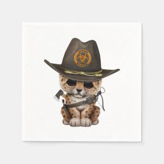 Cute Leopard Cub Zombie Hunter Paper Napkin