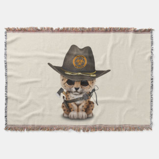 Cute Leopard Cub Zombie Hunter Throw Blanket