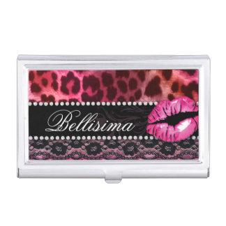 Cute Leopard Makeup Artist Cosmetology Lace Business Card Holder