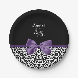 Cute Leopard Print Pretty Purple Bow With Name Paper Plate