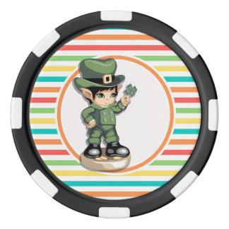 Cute Leprechaun on Bright Rainbow Stripes Poker Chips Set