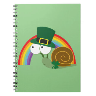 Cute Leprechaun Snail Spiral Note Books