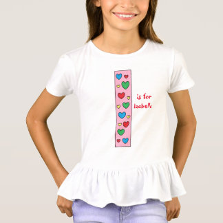 Cute Letter I Design Personalized Girl's Name T-Shirt