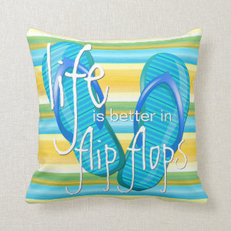 Cute Life Is Better In Flipflops Stripes Pattern Throw Pillow
