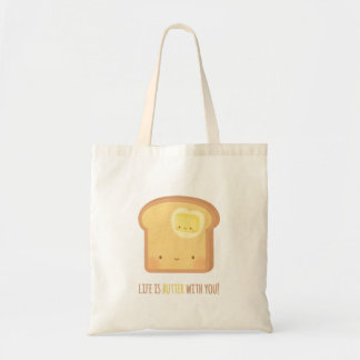 Cute Life is Butter with You Toast Pun Tote