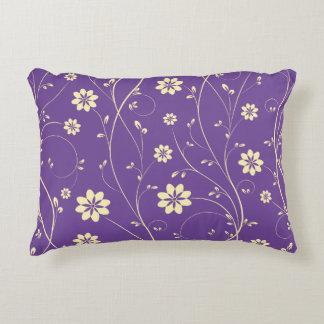 Cute Light Beige & Purple Delicate Floral Pattern Accent Pillow