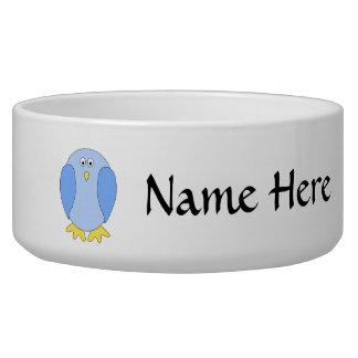 Cute Light Blue Bird Cartoon. Pet Bowls