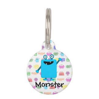 Cute Light Blue Cartoon Monster Pet ID Tag