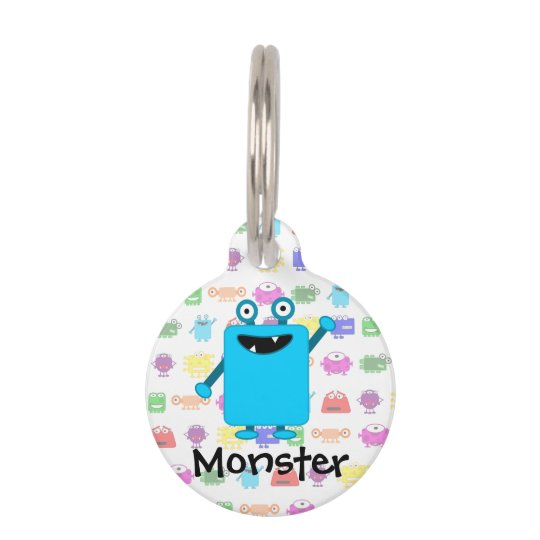 Cute Light Blue Cartoon Monster Pet ID Tag
