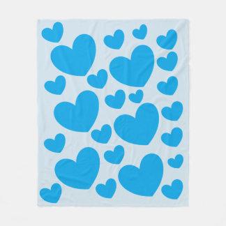 Cute Light Blue Hearts Fleece Blanket