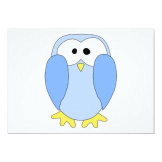 """Cute Light Blue Penguin. Penguin Cartoon. 5"""" X 7"""" Invitation Card"""