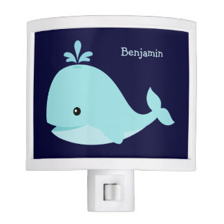 Cute Light Blue Whale Personalized Night Lights